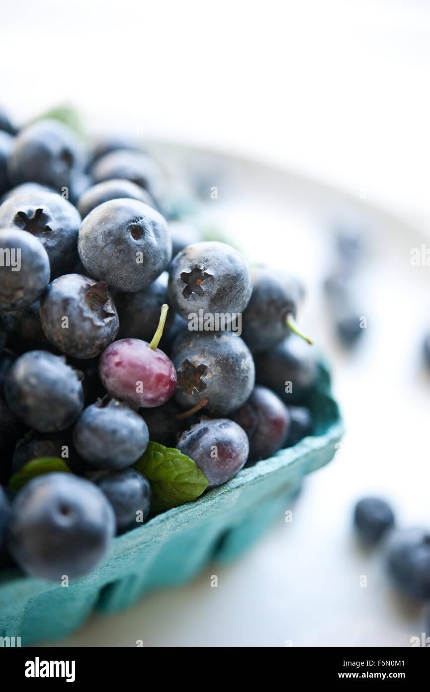 Fresh farmers' market blueberries - Stock Image