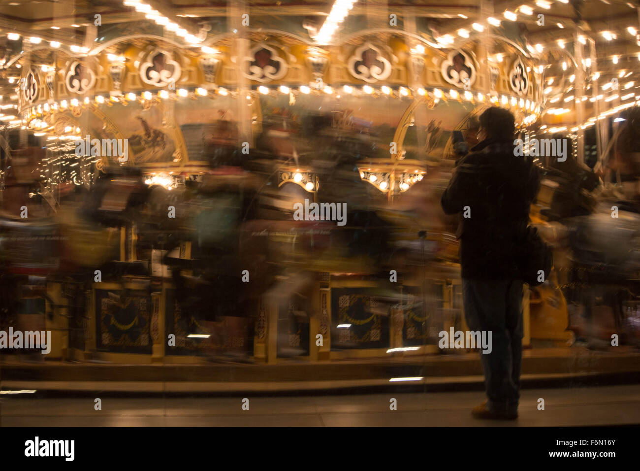 Jane's Carousel Brooklyn NY- A detailed view of some of the rides on the merry-go-round at Jane's Carousel - Stock Image