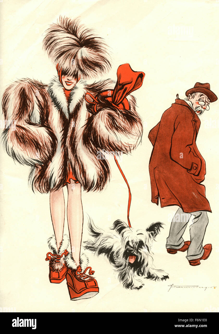 German satirical illustrations 1950: A woman with a dog - Stock Image