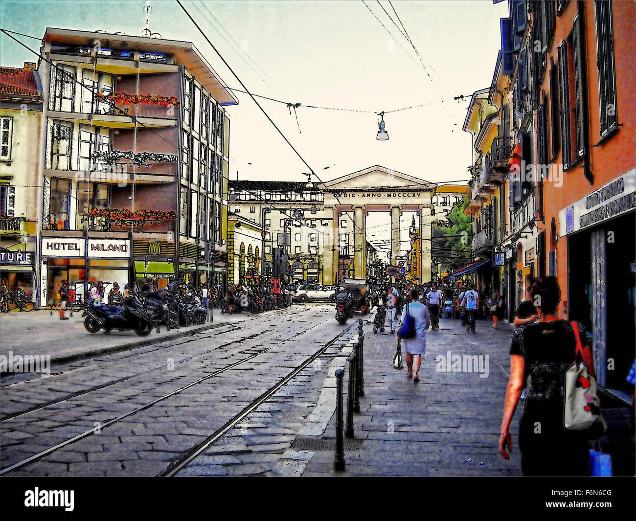 Milan Italy urban scene street view Stock Photo: 90205824 ...