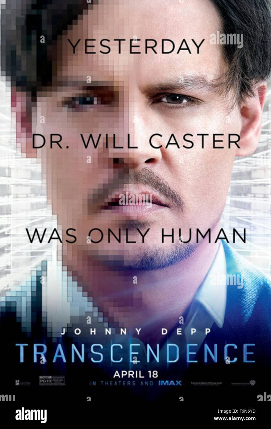 March 10, 2014 - Hollywood, USA - TRANSCENDENCE (POSTER) (2014)..JOHNNY DEPP..WALLY PFISTER (DIR)..y  (Credit Image: - Stock Image