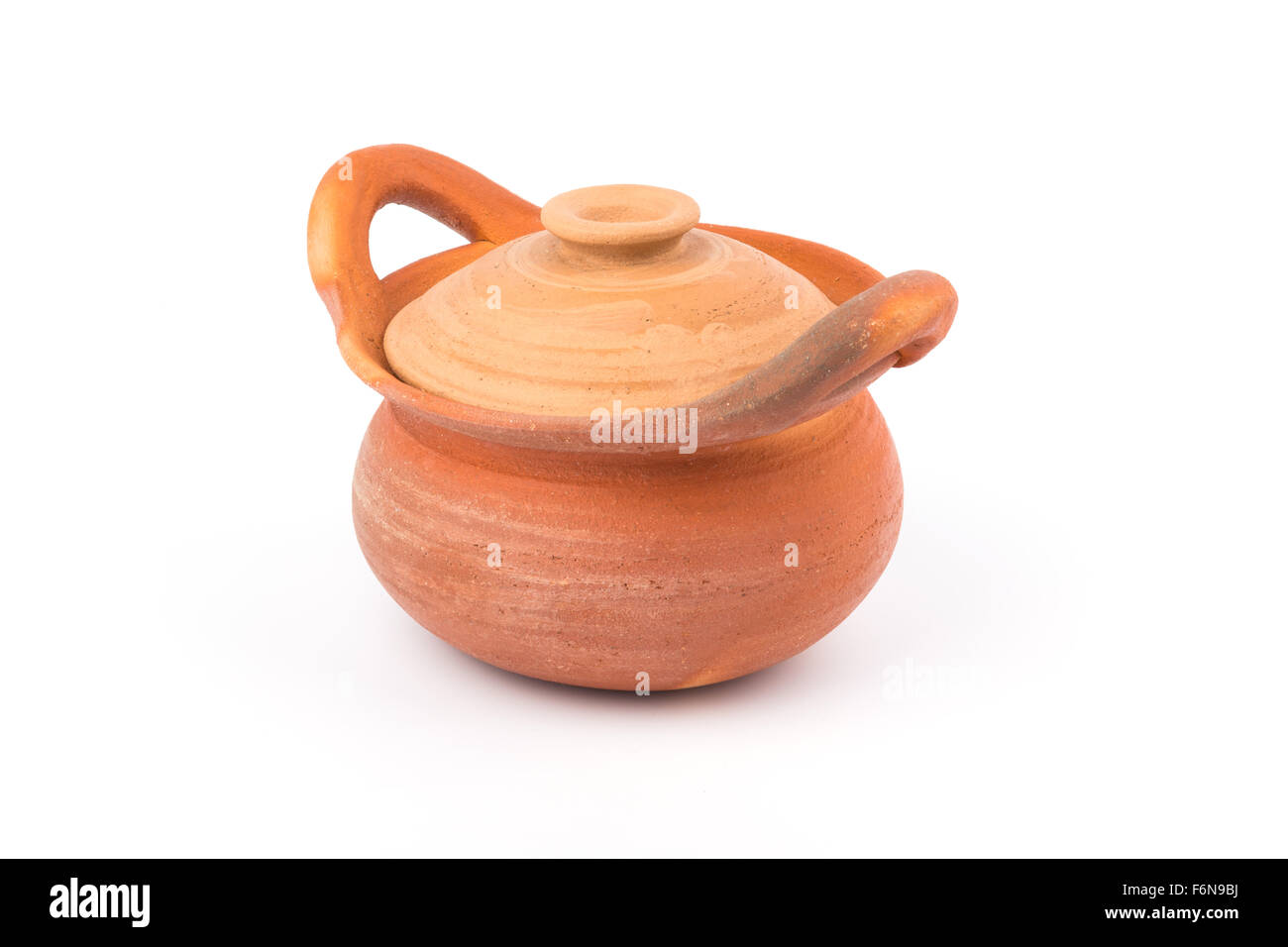 pot clay on white background - Stock Image