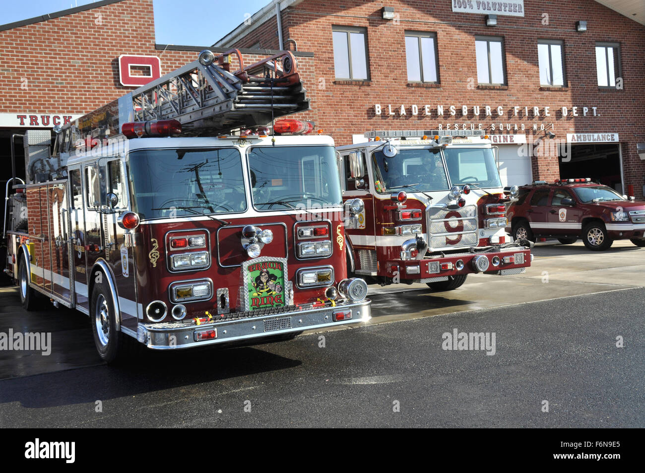 The Bladensburg Volunteer Fire Department in Bladensburg, Maryland - Stock Image