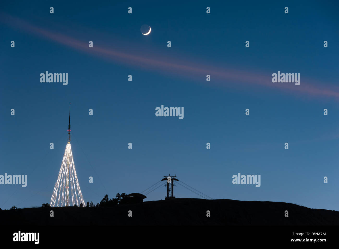 Stone Mountain Christmas.The Giant Lighted Christmas Tree Atop Stone Mountain Is