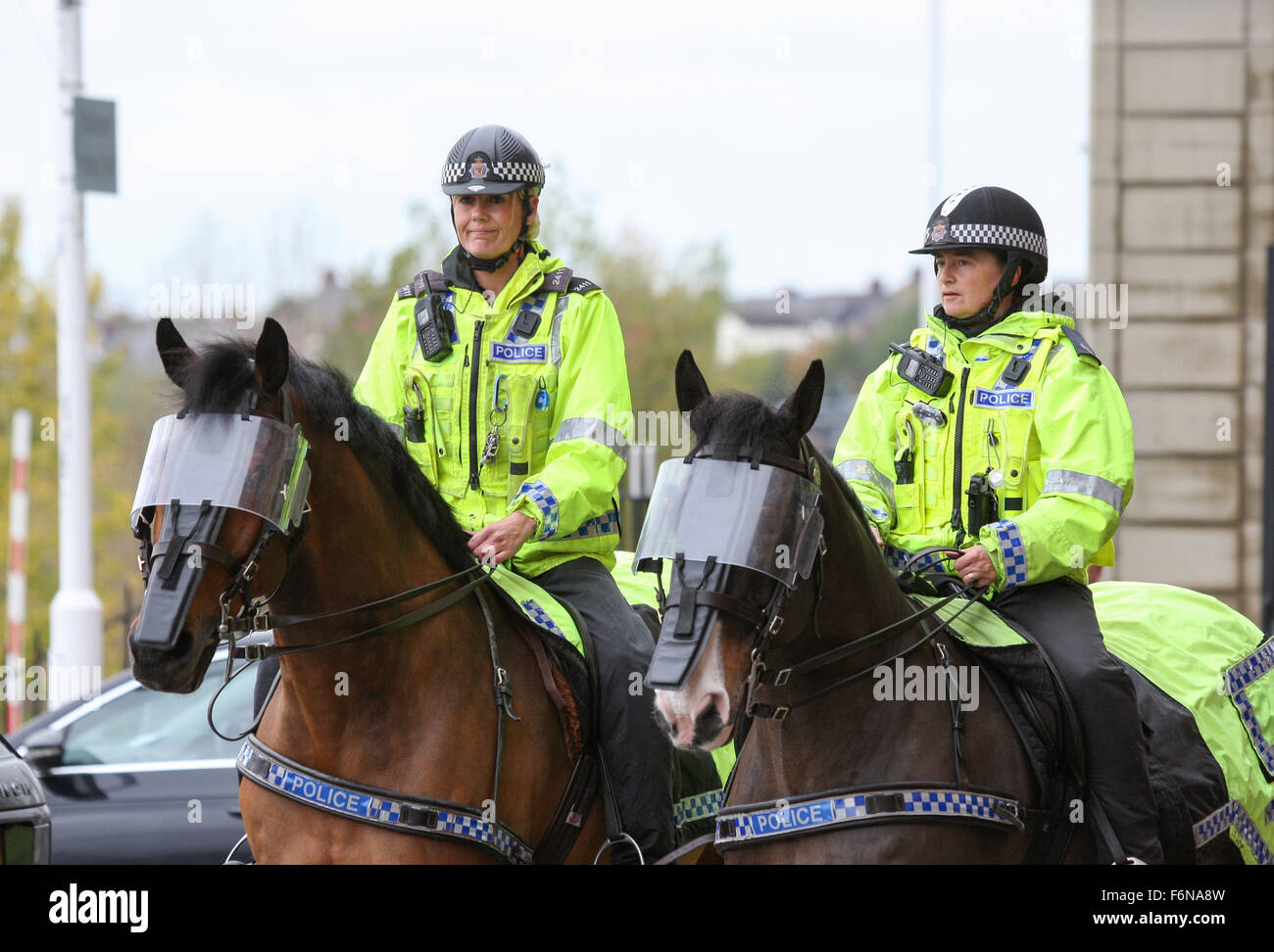 Northumbria mounted Police officers attending a football match in Sunderland - Stock Image