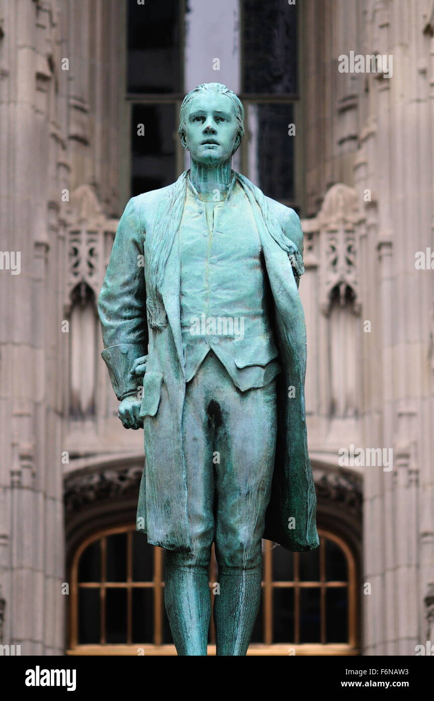 The Nathan Hale statue outside of Chicago's Tribune Tower along north Michigan Avenue. Chicago, Illinois, USA. - Stock Image