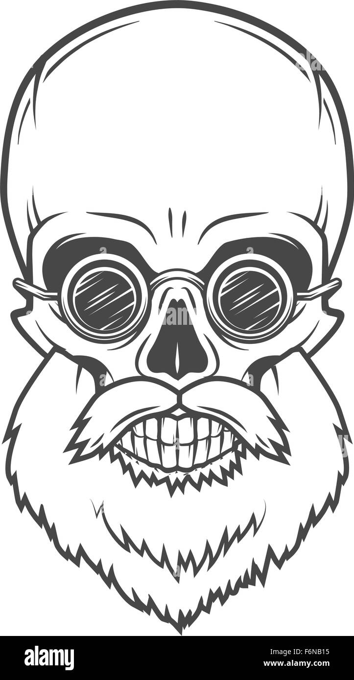 Evil Bearded Jolly Roger with glasses logo template. Old biker t-shirt design. Rock and roll insignia concept. - Stock Vector