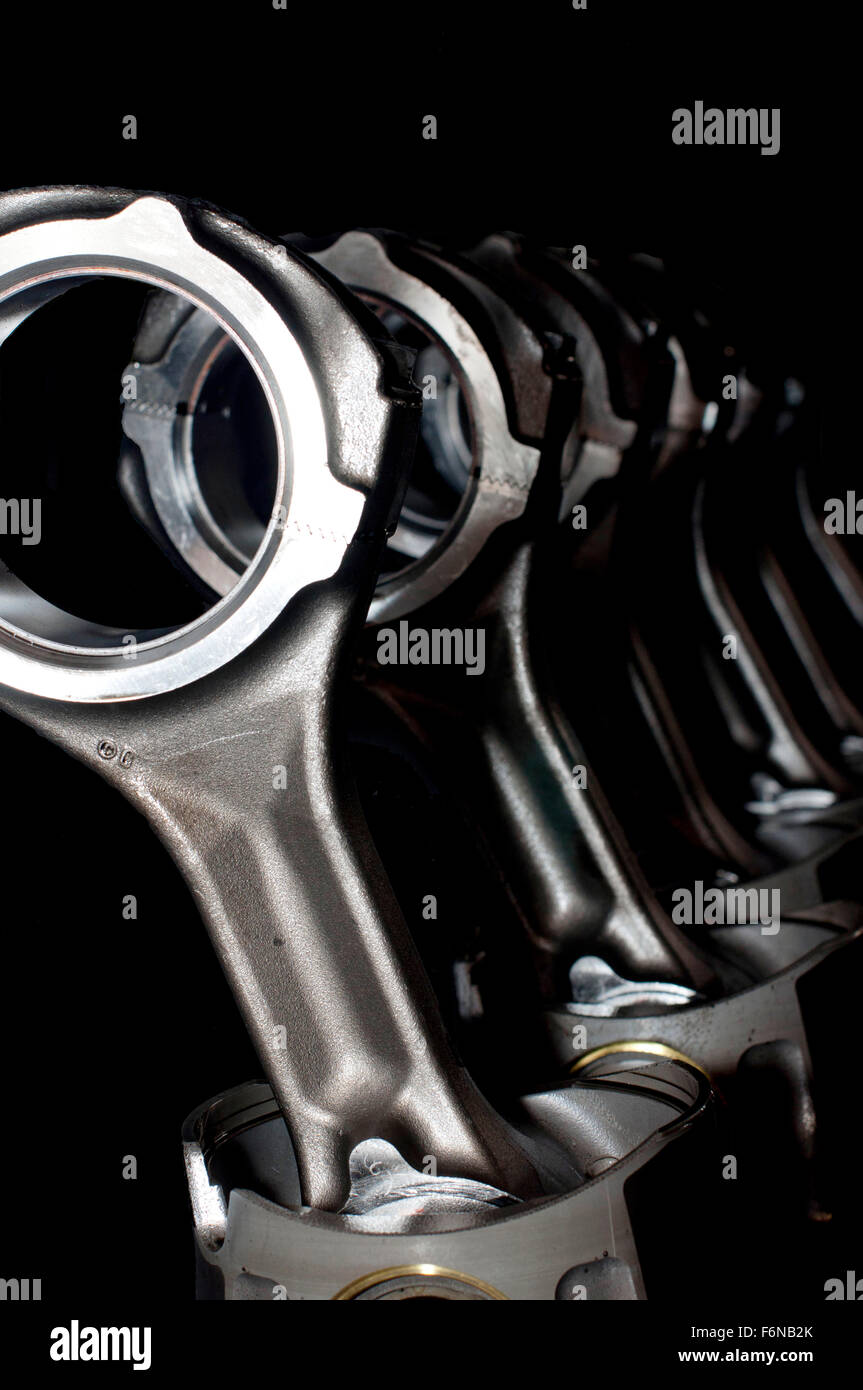 Piston rods from a truck's engine - Stock Image
