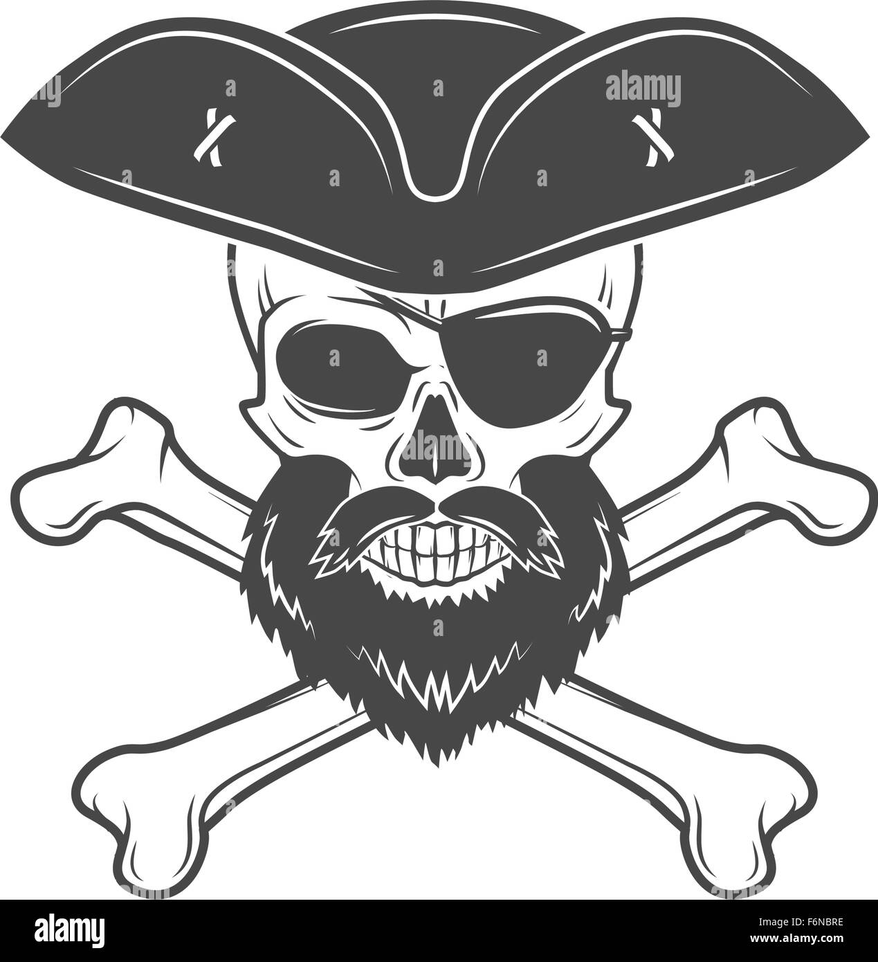 Pirate Skull In Cocked Hat With Beard Eye Patch And Crossed Bones Vector Edward Teach Portrait Corsair Logo Template Filibuster T Shirt Insignia Design