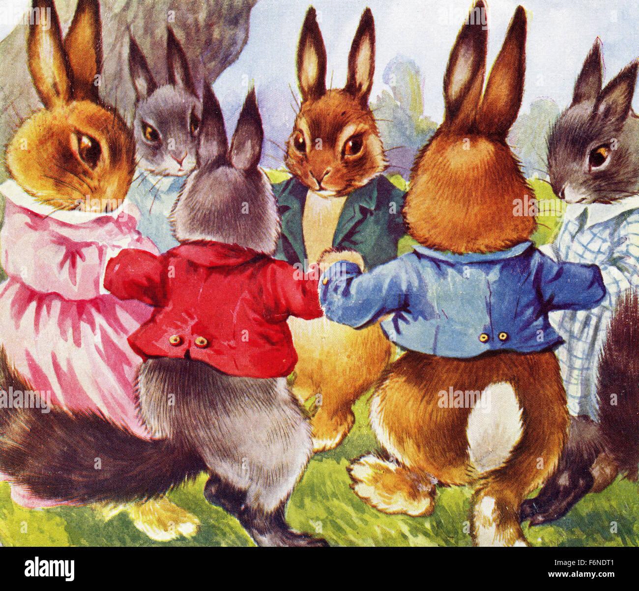 1920s Children S Book Illustration Of Dancing Bunnies Stock Photo