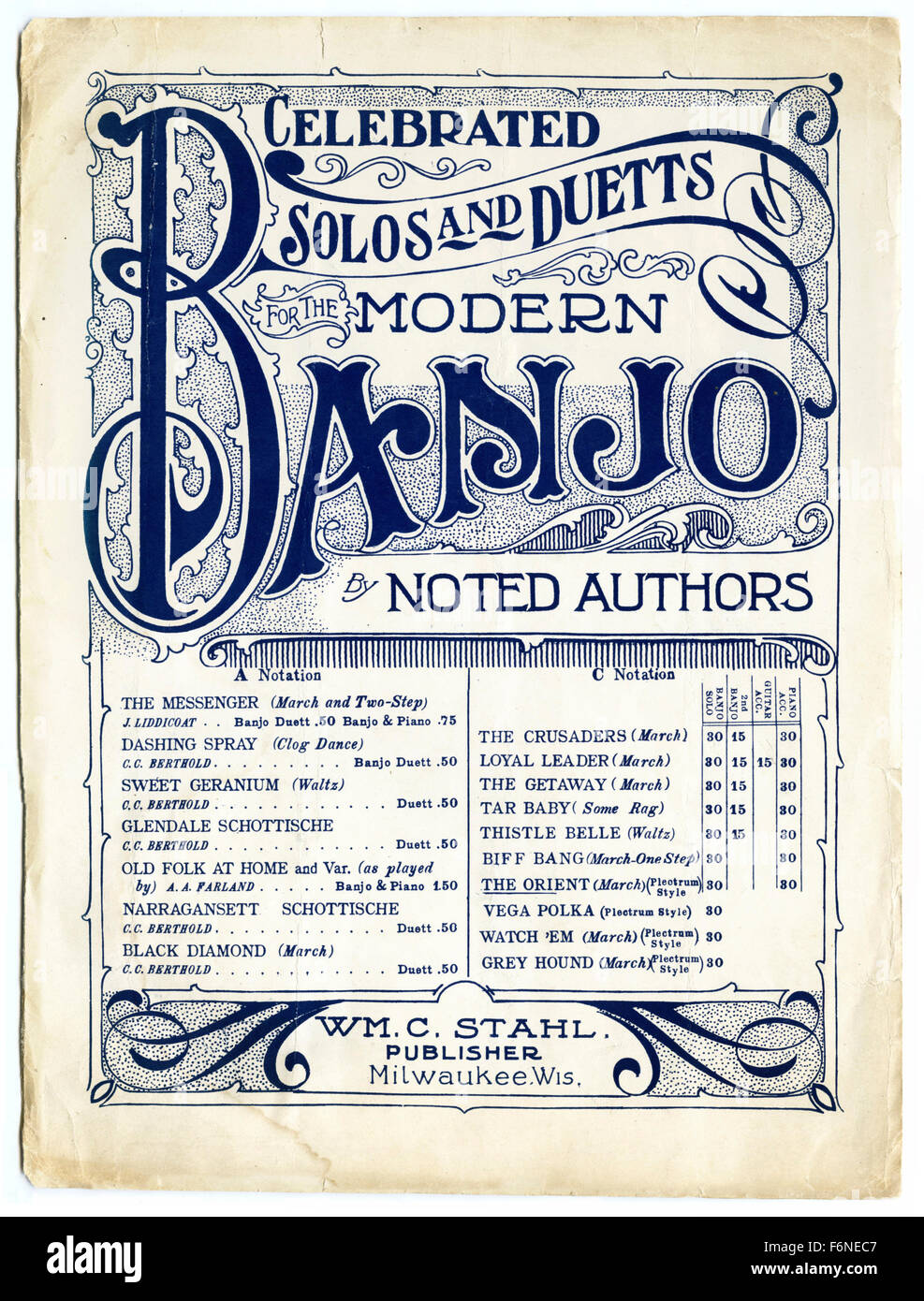 Celebrated Solos and Duetts for the Modern Banjo by Noted Authors music book - Stock Image