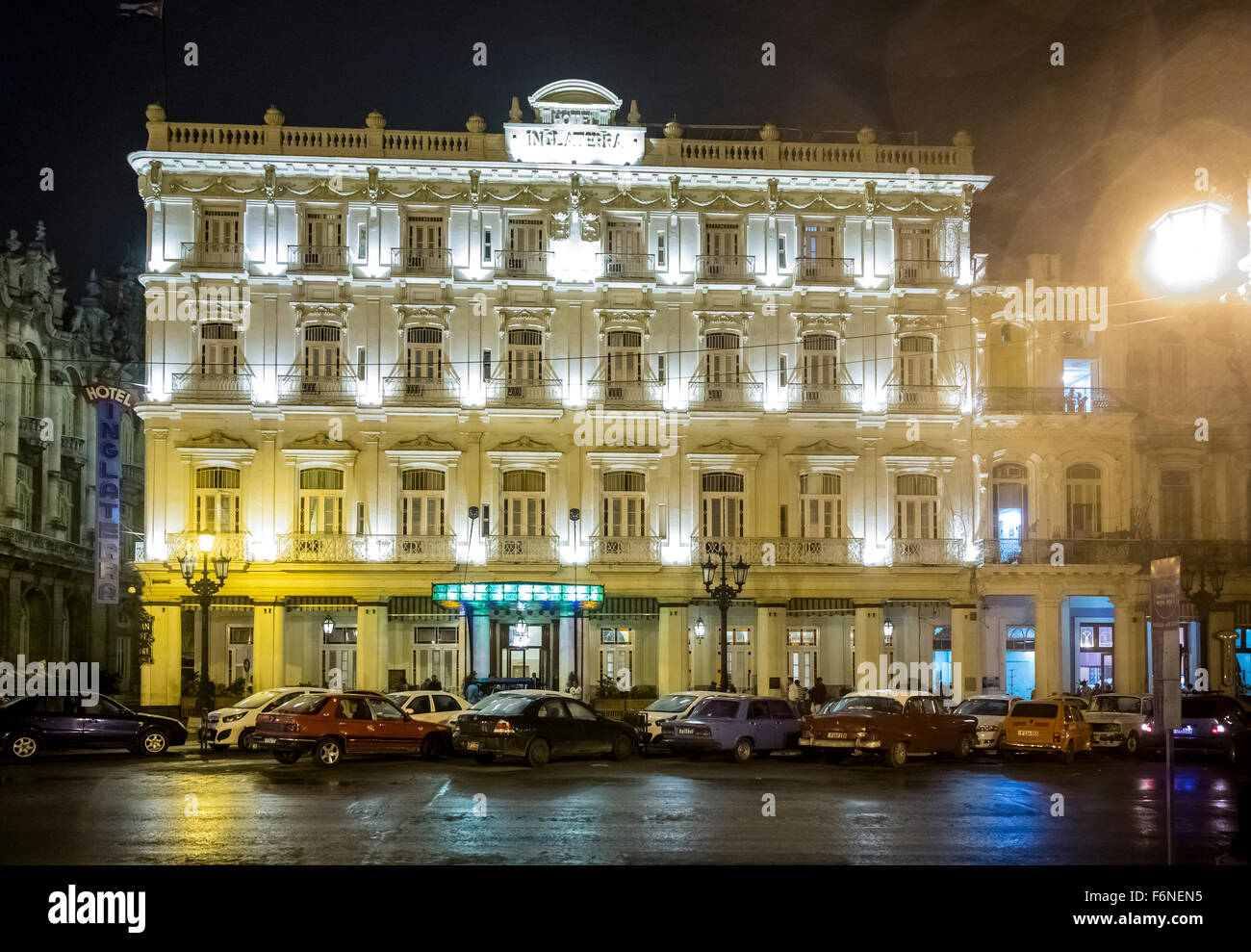 Hotel Inglaterra at night, in the rain Havana, Cuba, North America, Caribbean, Havana - Stock Image