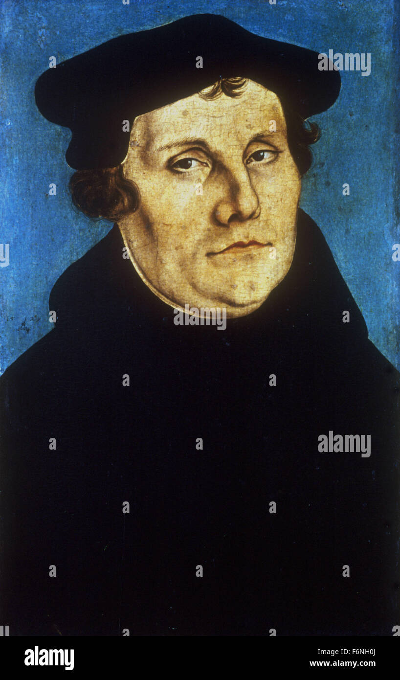 Lucas Cranach the Elder - Portrait of Martin LUTHER   German Protestant reformer Stock Photo