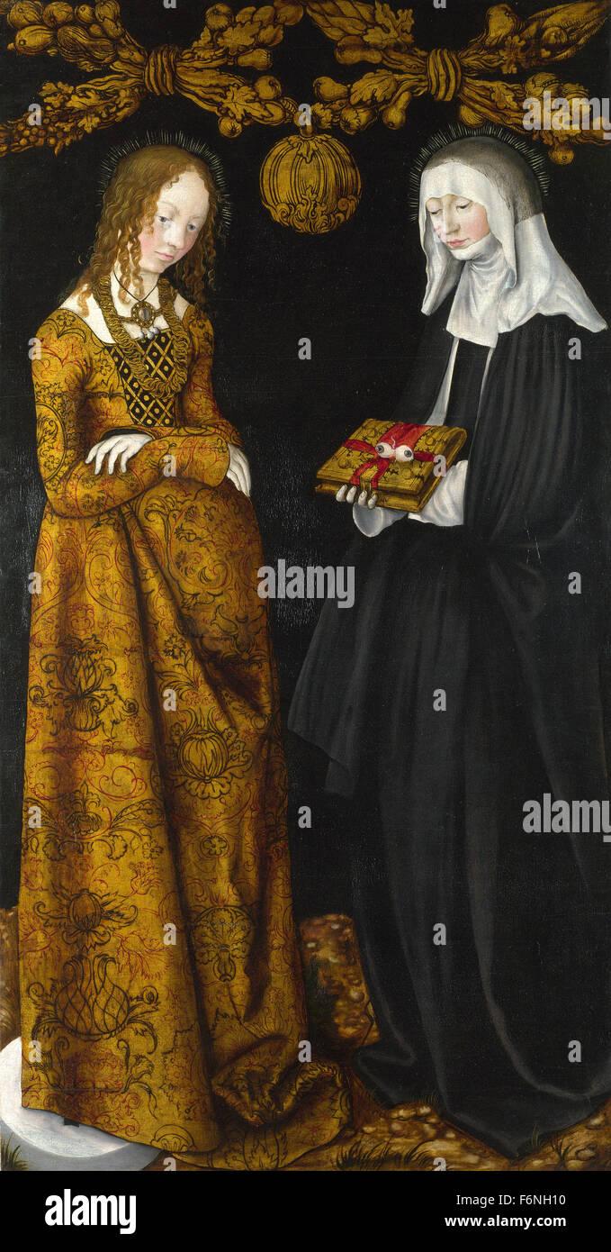 Lucas Cranach the Elder - Saints Christina and Ottilia - Stock Image