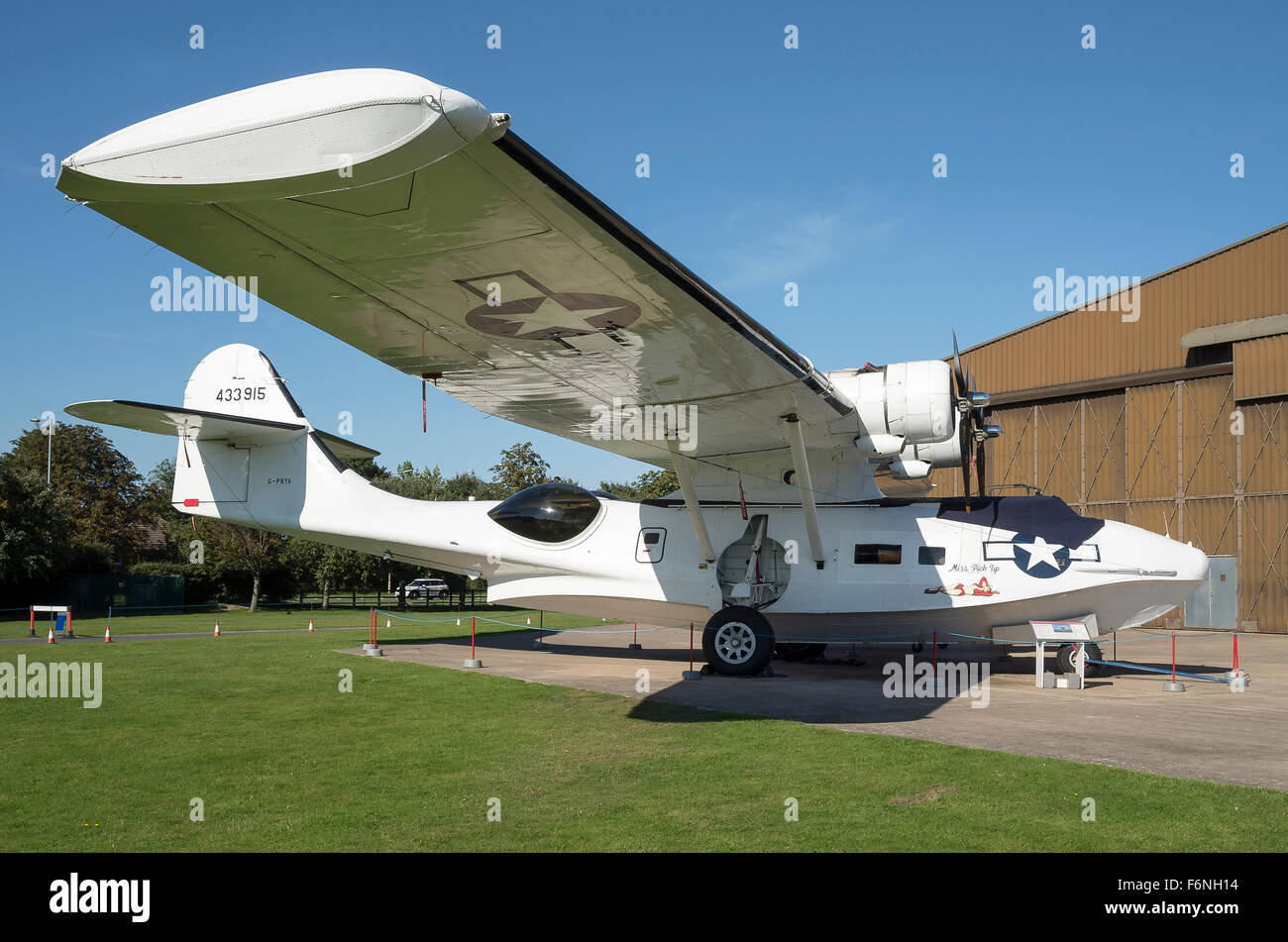 Starboard side of a Consolidated Catalina flying boat at Duxford museum UK - Stock Image