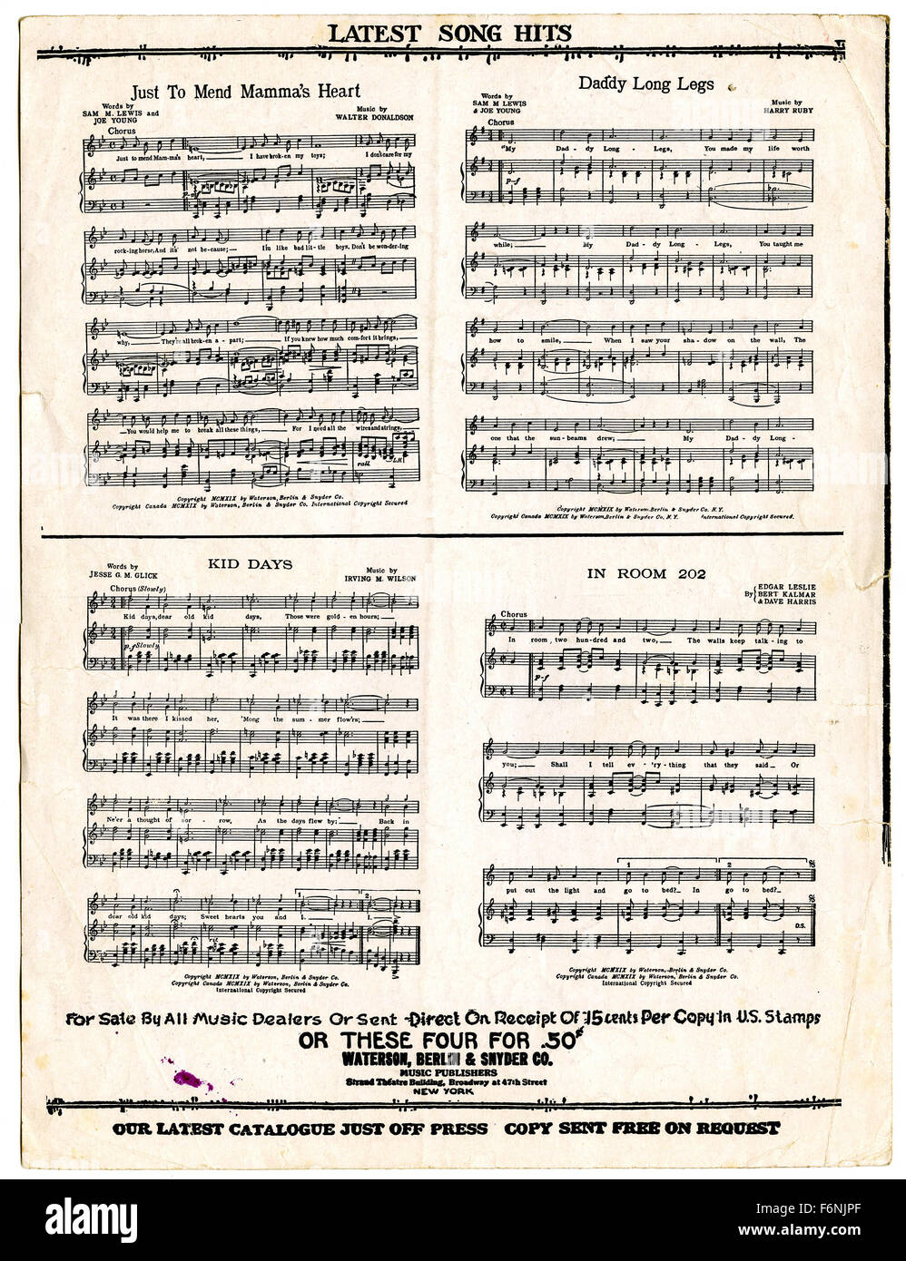 Collection of Latest Song Hits, 1919, from back side of piano sheet music - Stock Image
