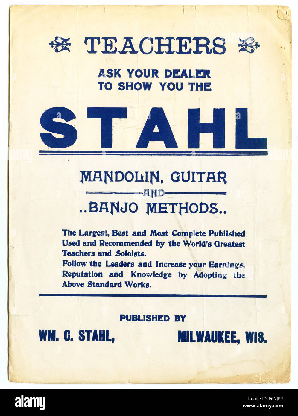 William C. Stahl Music Publishers advertisement for mandolin, guitar and banjo methods, 1920 - Stock Image