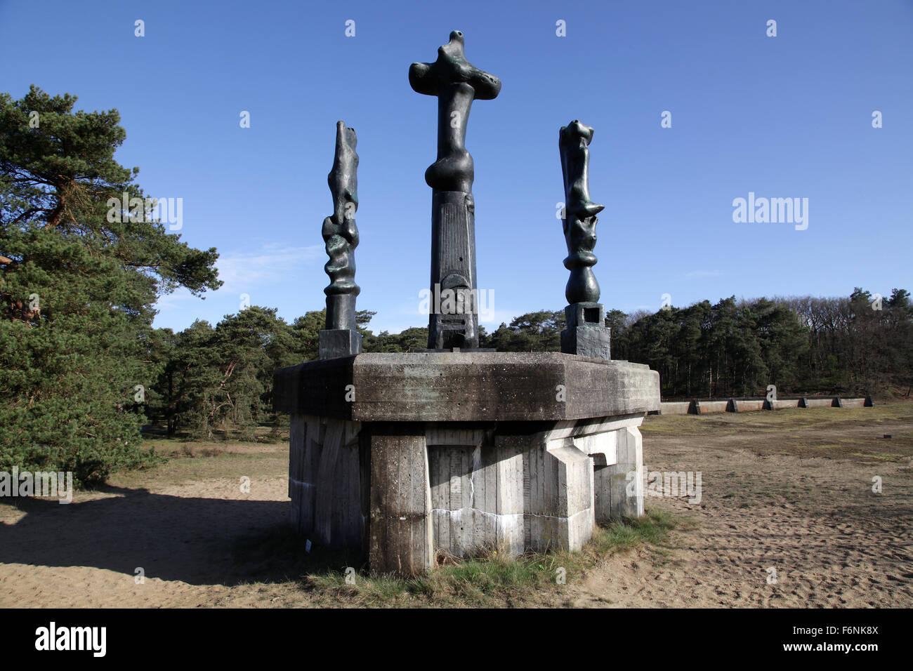 Three upright motives by Henry Moore Arnhem Netherlands - Stock Image