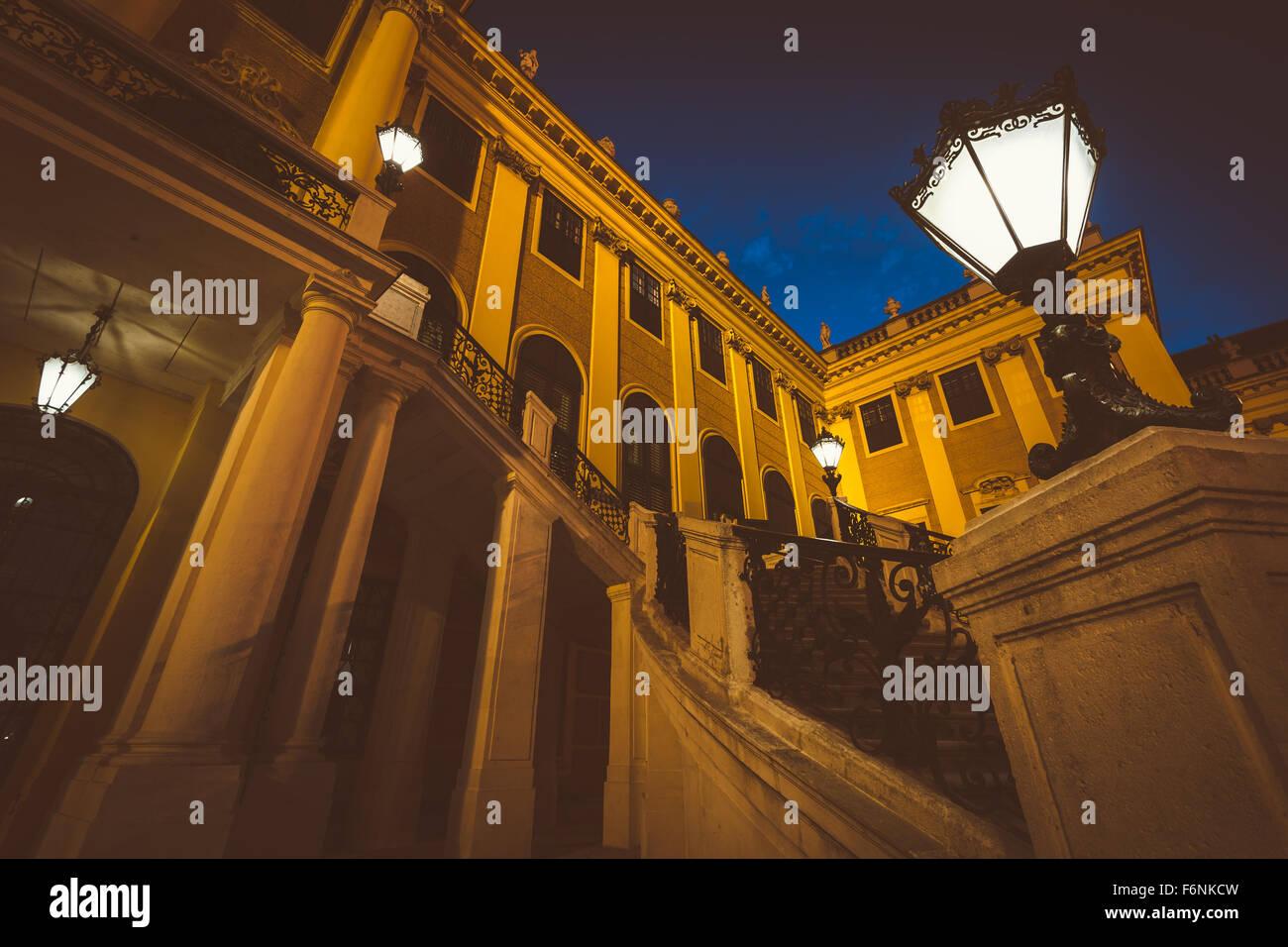 Schönbrunn Palace at night, in Vienna, Austria. - Stock Image