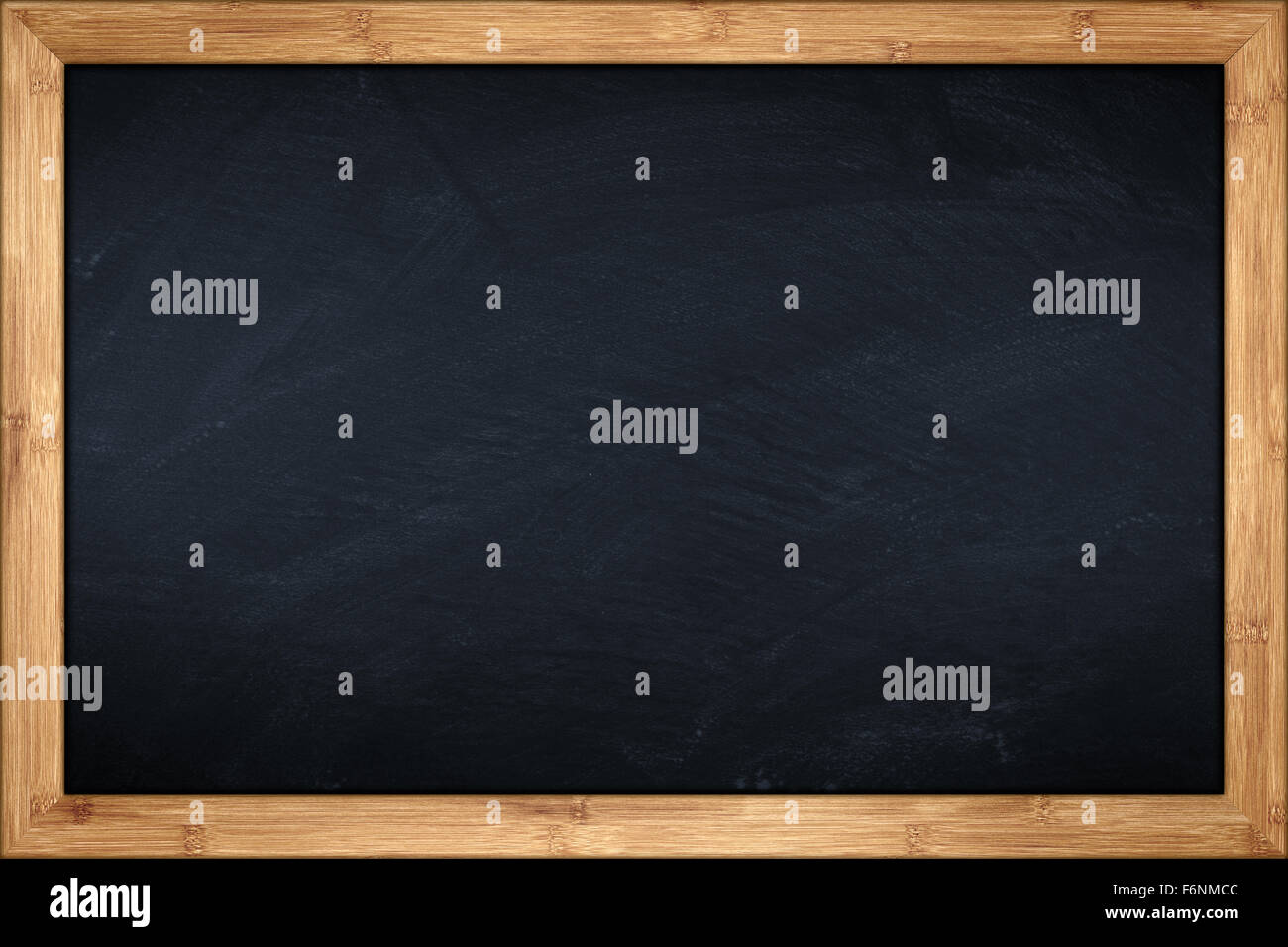 blackboard with wooden bamboo frame - Stock Image