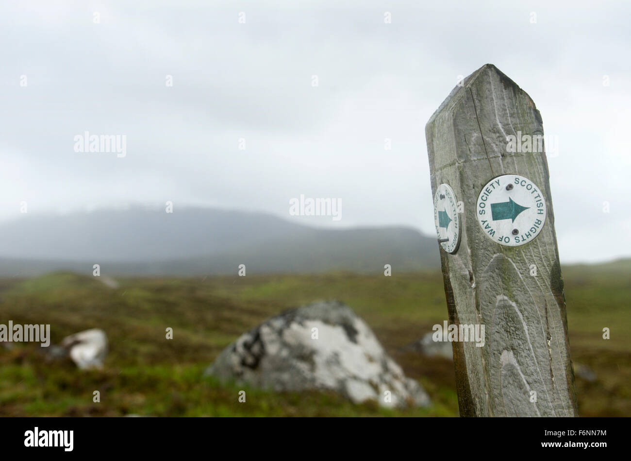 Scottish Rights of Way Society signage at Corrour Station, the UKs most remote railway station - Stock Image