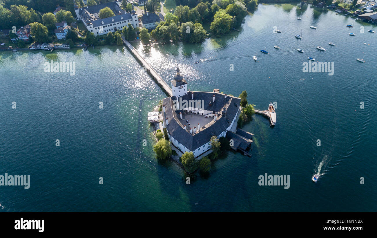 Schloss Ort castle in Gmunden Austria Europe - view from sky - Stock Image