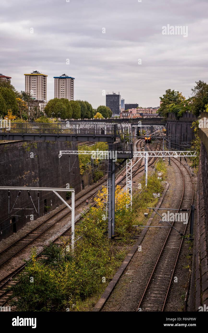 Railway cutting near Euston Station, London, UK - Stock Image