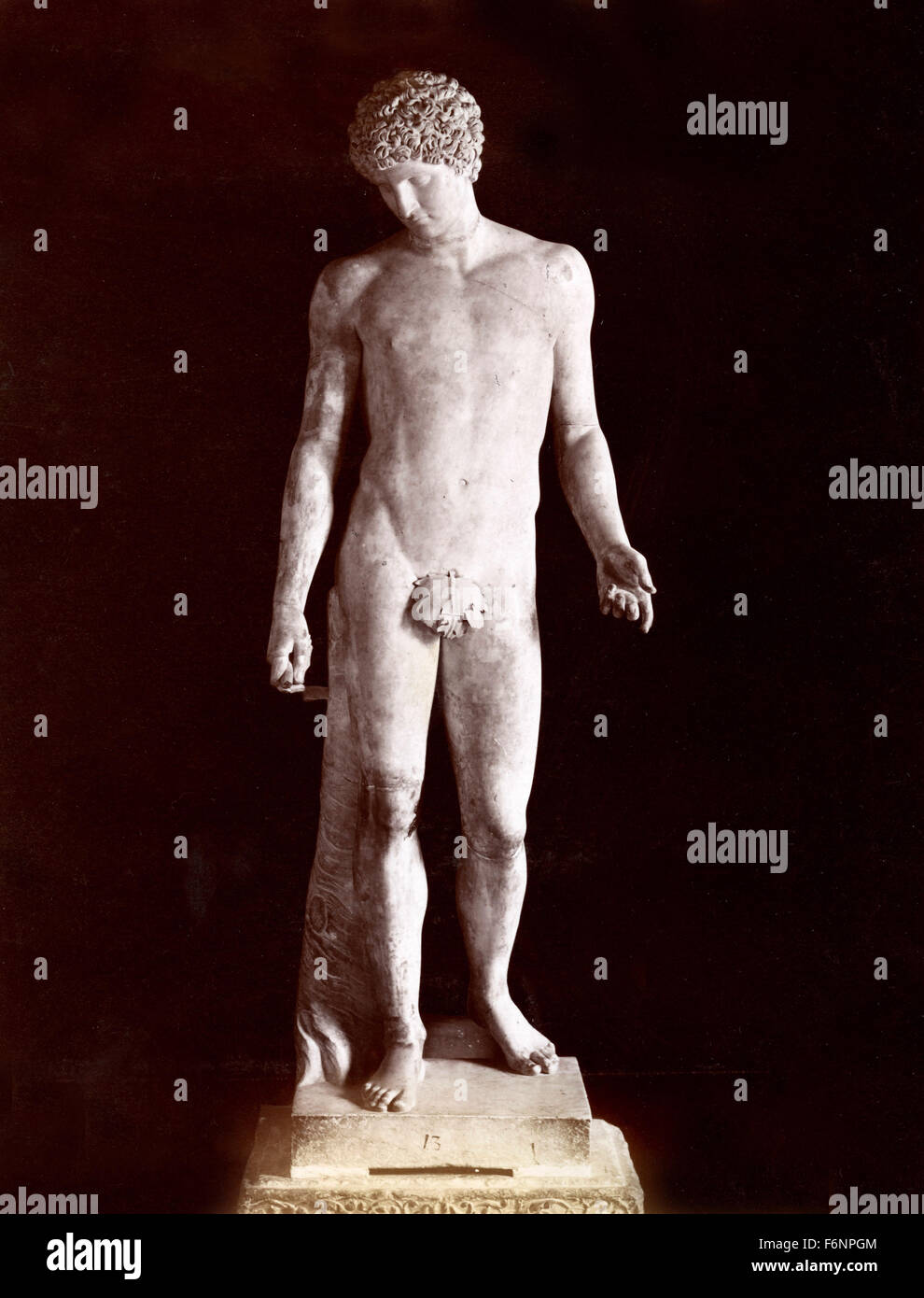 Antinous Farnese, marble statue, Naples, Italy - Stock Image