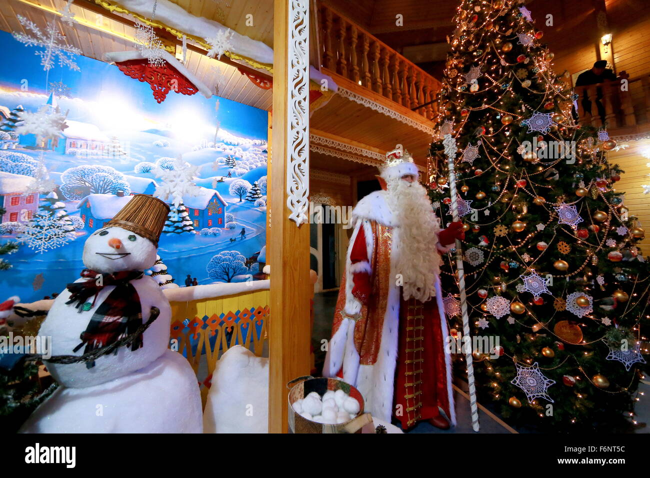 vologda region russia 18th nov 2015 father frost seen during a celebration