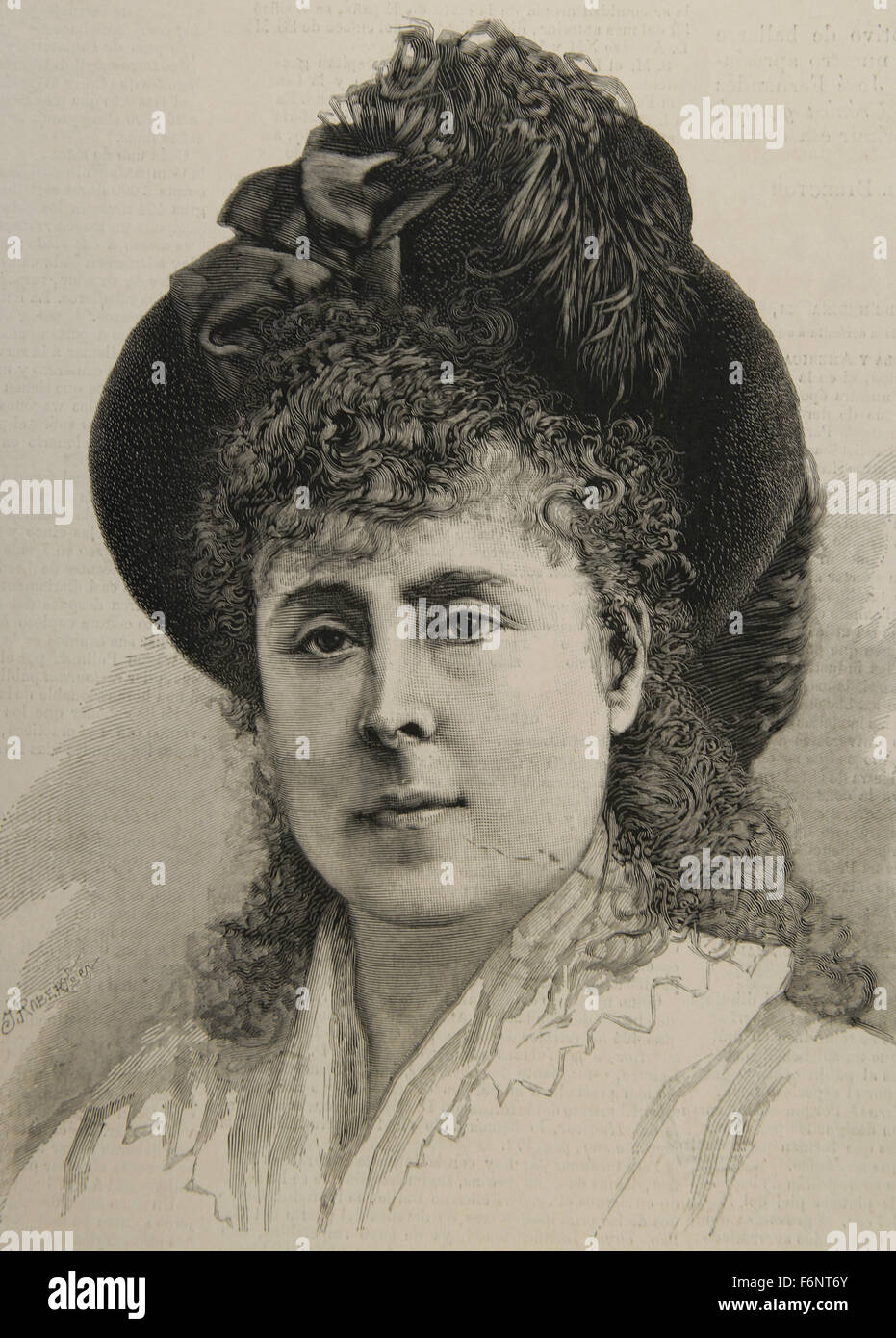 Angela Maria Apolonia Perez de Barradas and Bernuy (1827-1903), Dowager Duchess of Medinaceli and 1st Duchess of - Stock Image