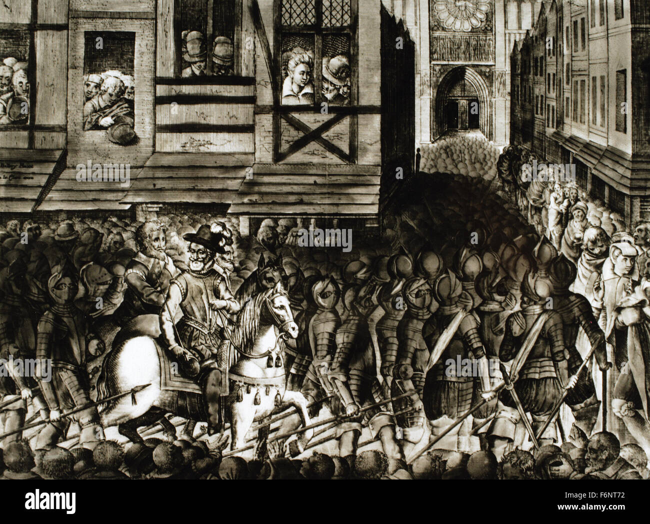 Entrance of Henry IV of France (1553-1610) in Paris, 22 March 1594, with 1.500 cuirassiers. Engraving. Stock Photo