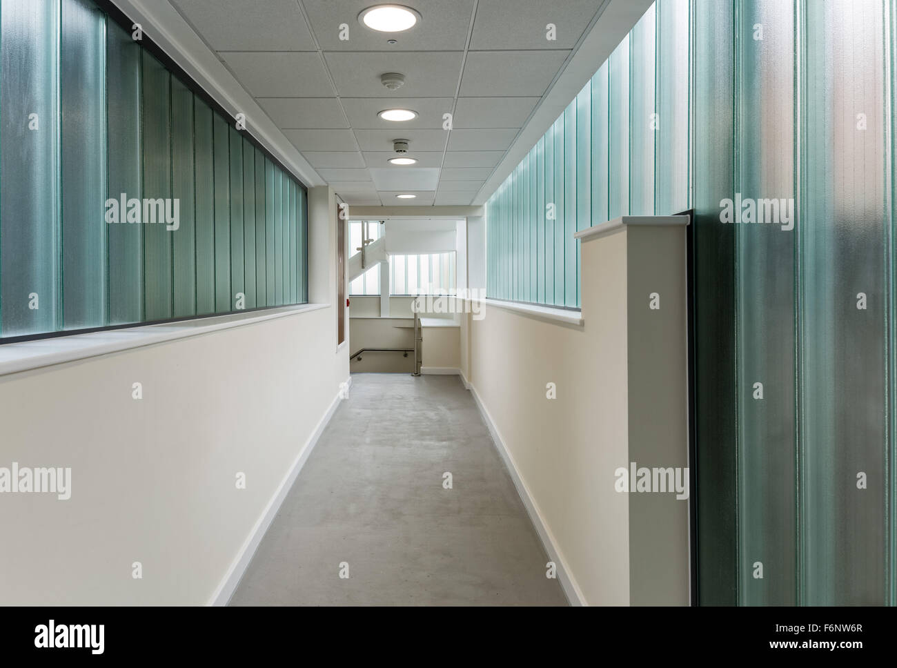 Modern corridor with glass walls - Stock Image