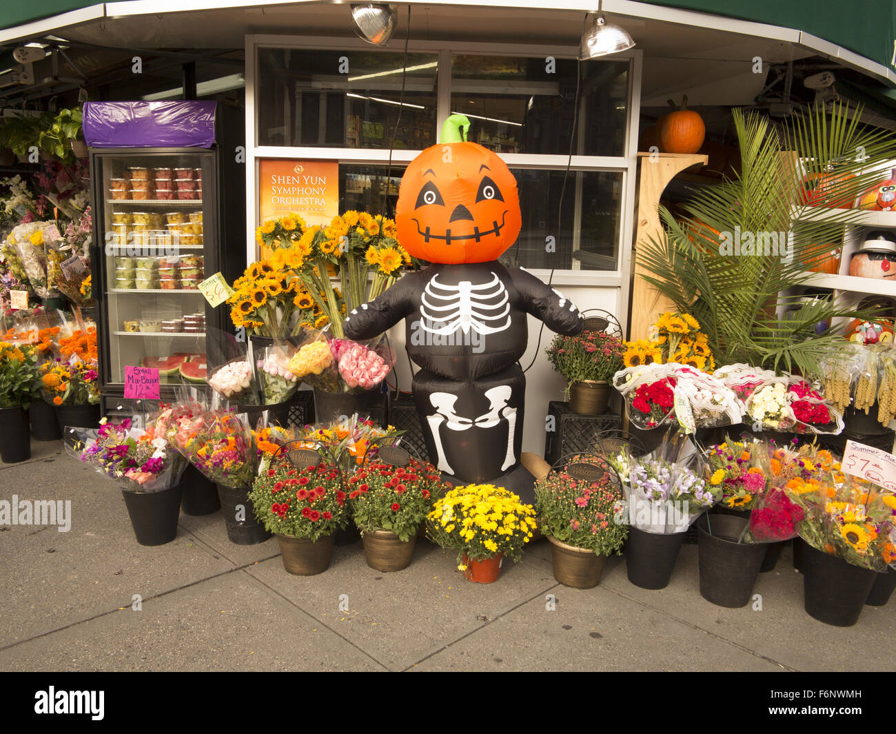 Autumn Flowers And Display At An Independent Grocery Store