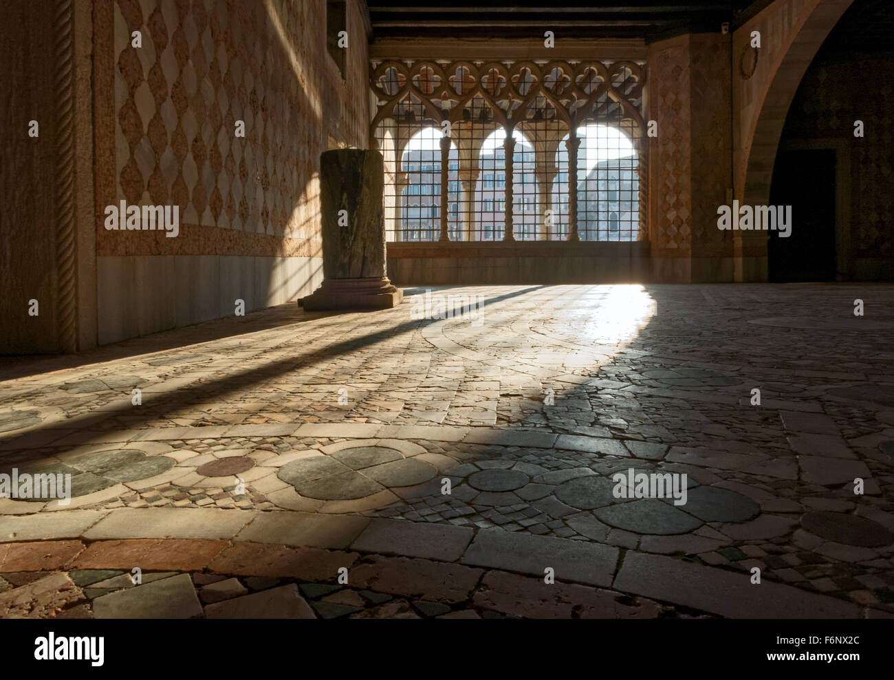 Interior of the Ca D'Oro gothic Palace in Venice Italy - Stock Image