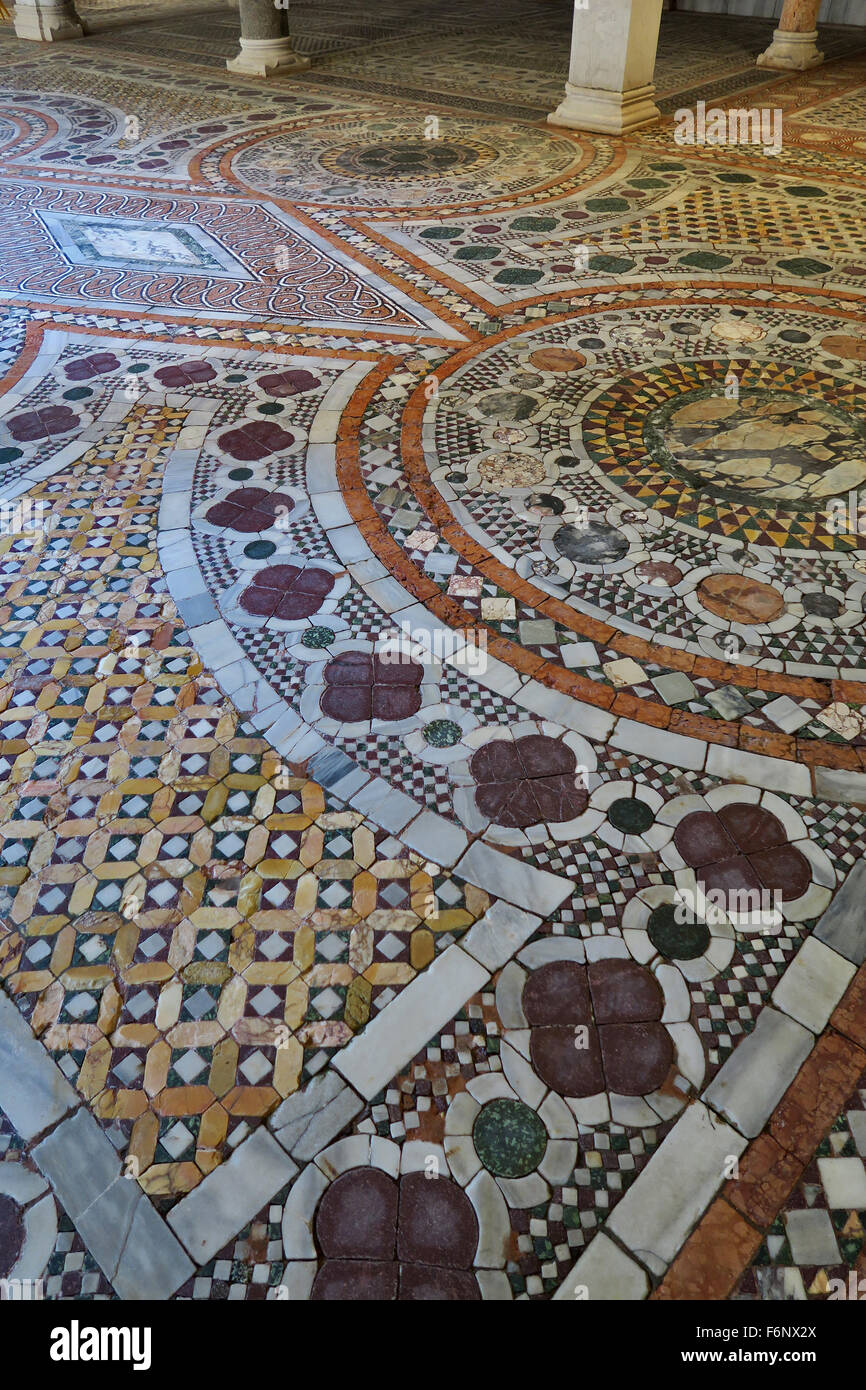 Mosaic flooring at the Ca D'Oro gothic Palace in Venice Italy - Stock Image