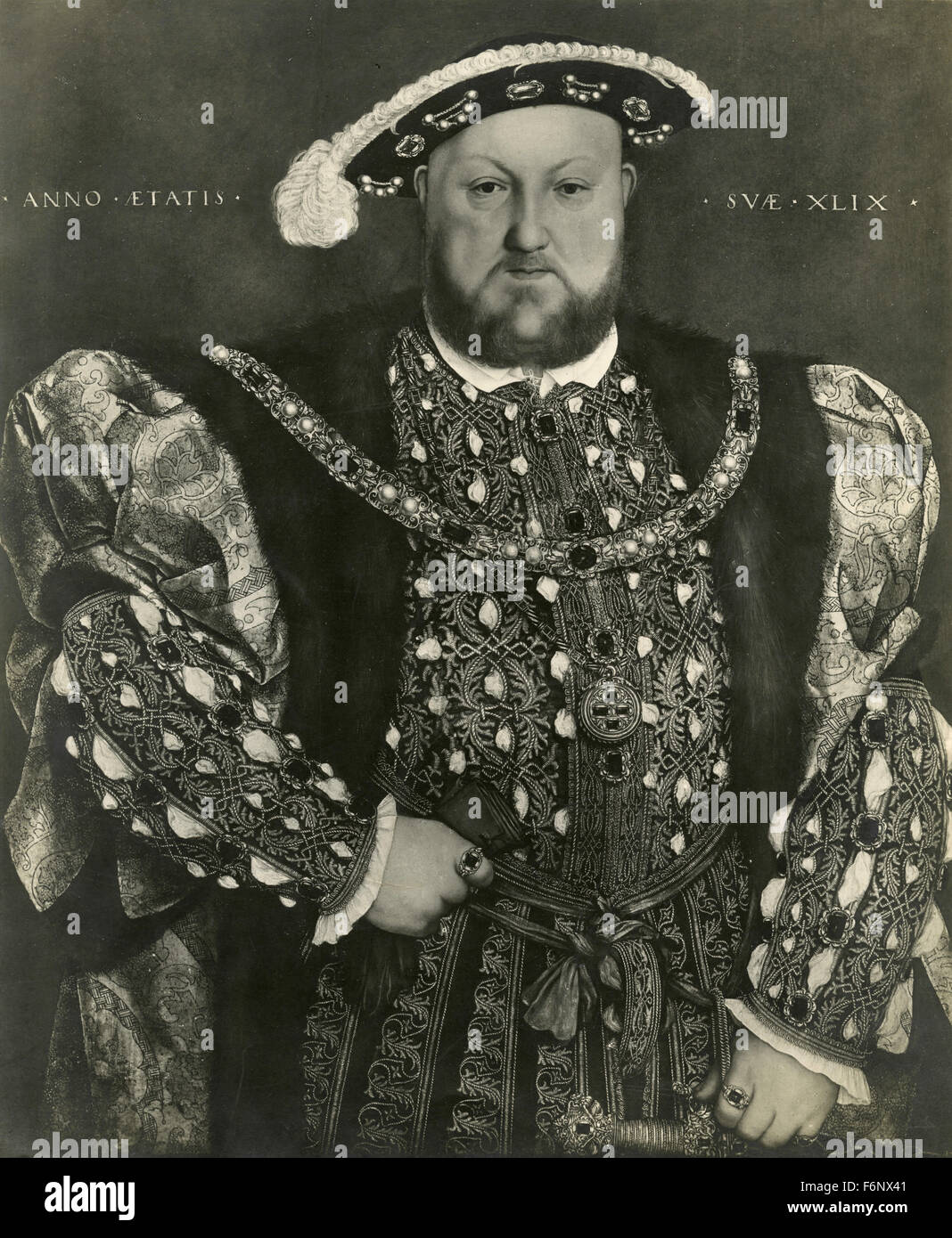 Portrait of Henry VIII painted by Holbein - Stock Image