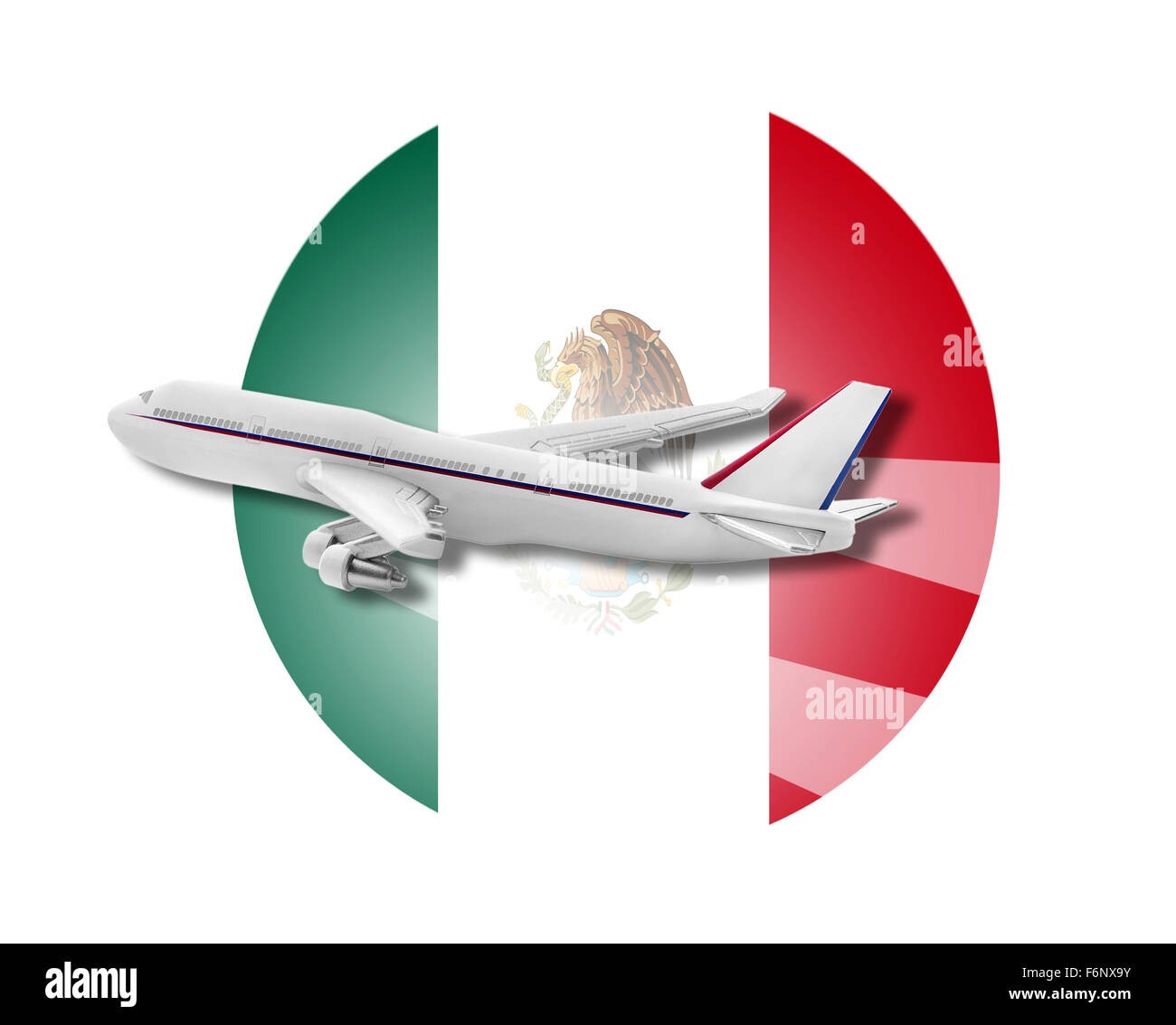 Plane and Mexico flag. - Stock Image