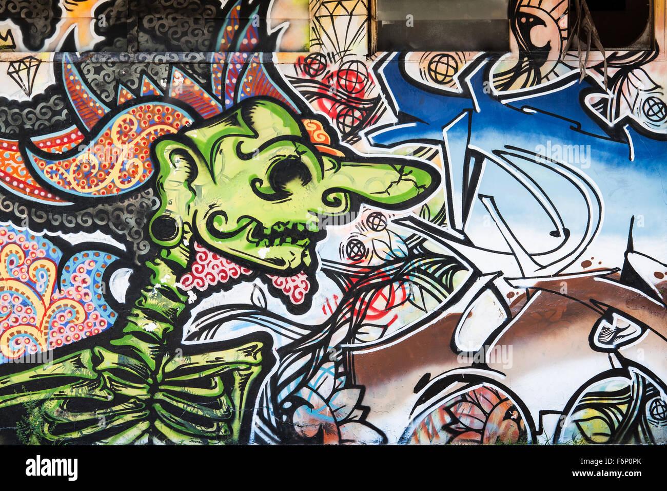 Traditional wayang kulit graffiti in indonesia