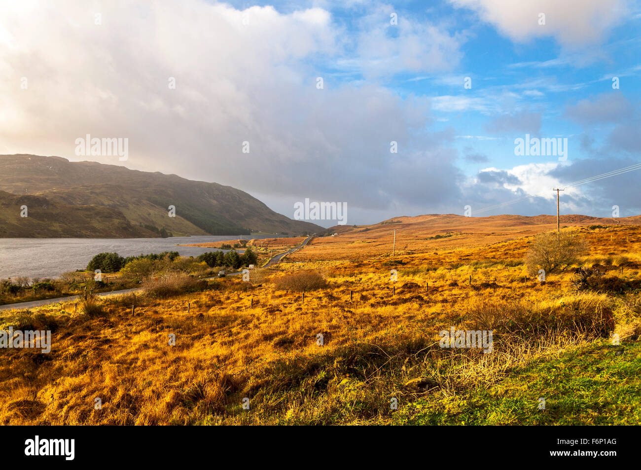 Lough Finn at Fintown, County Donegal, Ireland. The landscape in November. - Stock Image