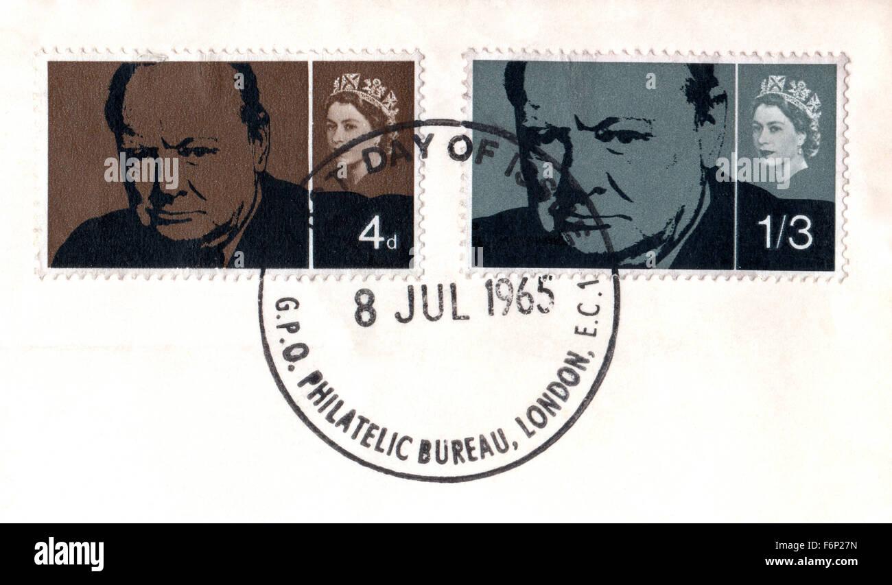 Philately, United Kingdom, 1965 Sir Winston Churchill commemorative Stamps, London Philatelic Bureau First Day of - Stock Image