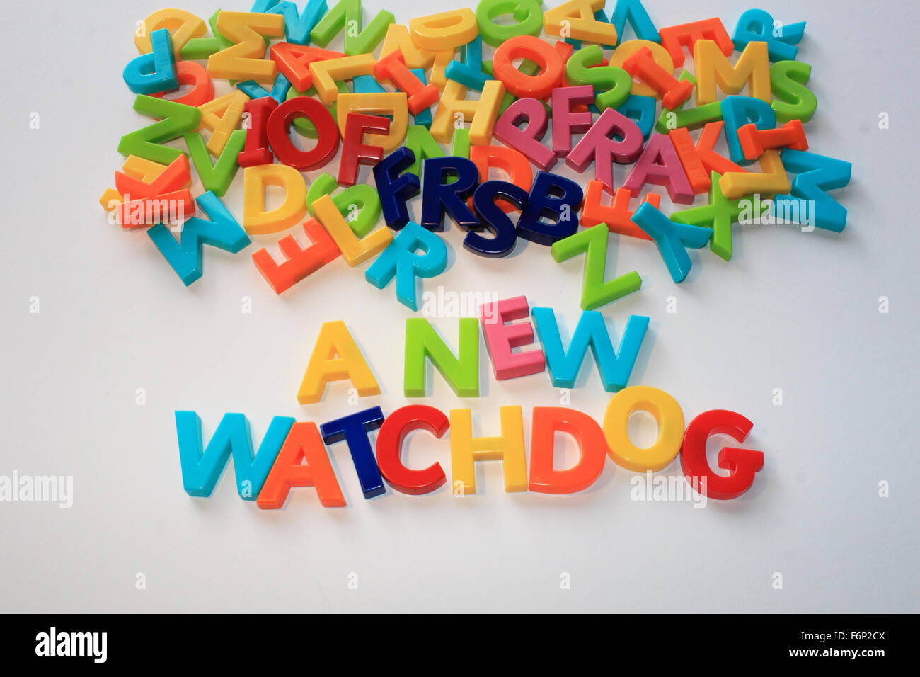 A NEW WATCHDOG emerging from an 'alphabetti soup' of fundraising regulatory bodies - IOF, FRSB and PFRA - Stock Image