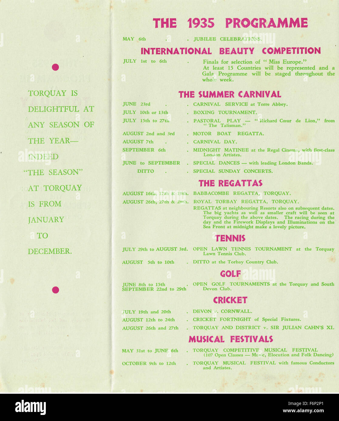 1935 Torquay tourist programme of events - Stock Image