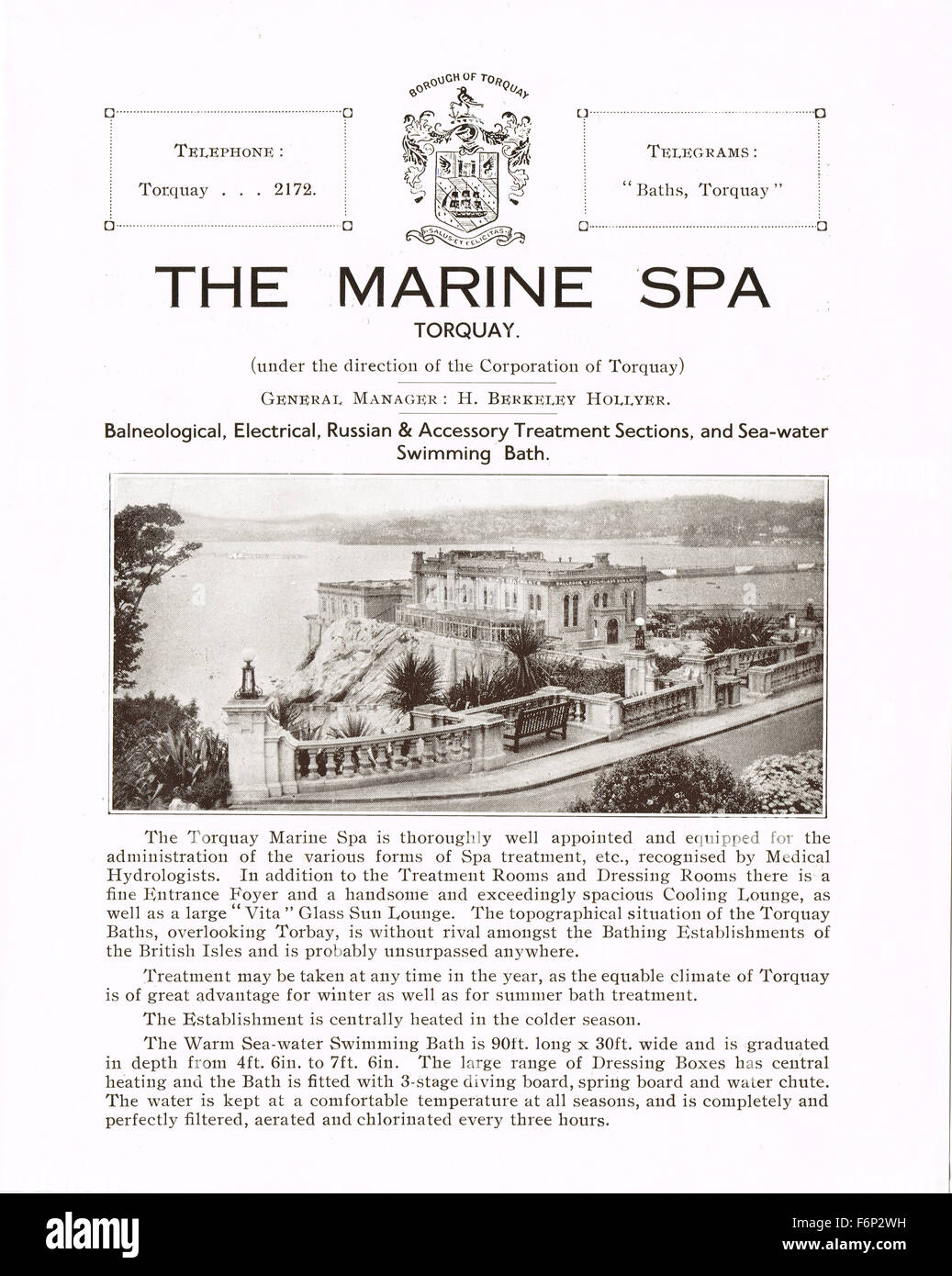 1935 advert / flyer for the now demolished Marine Spa, Torquay, Devon - Stock Image