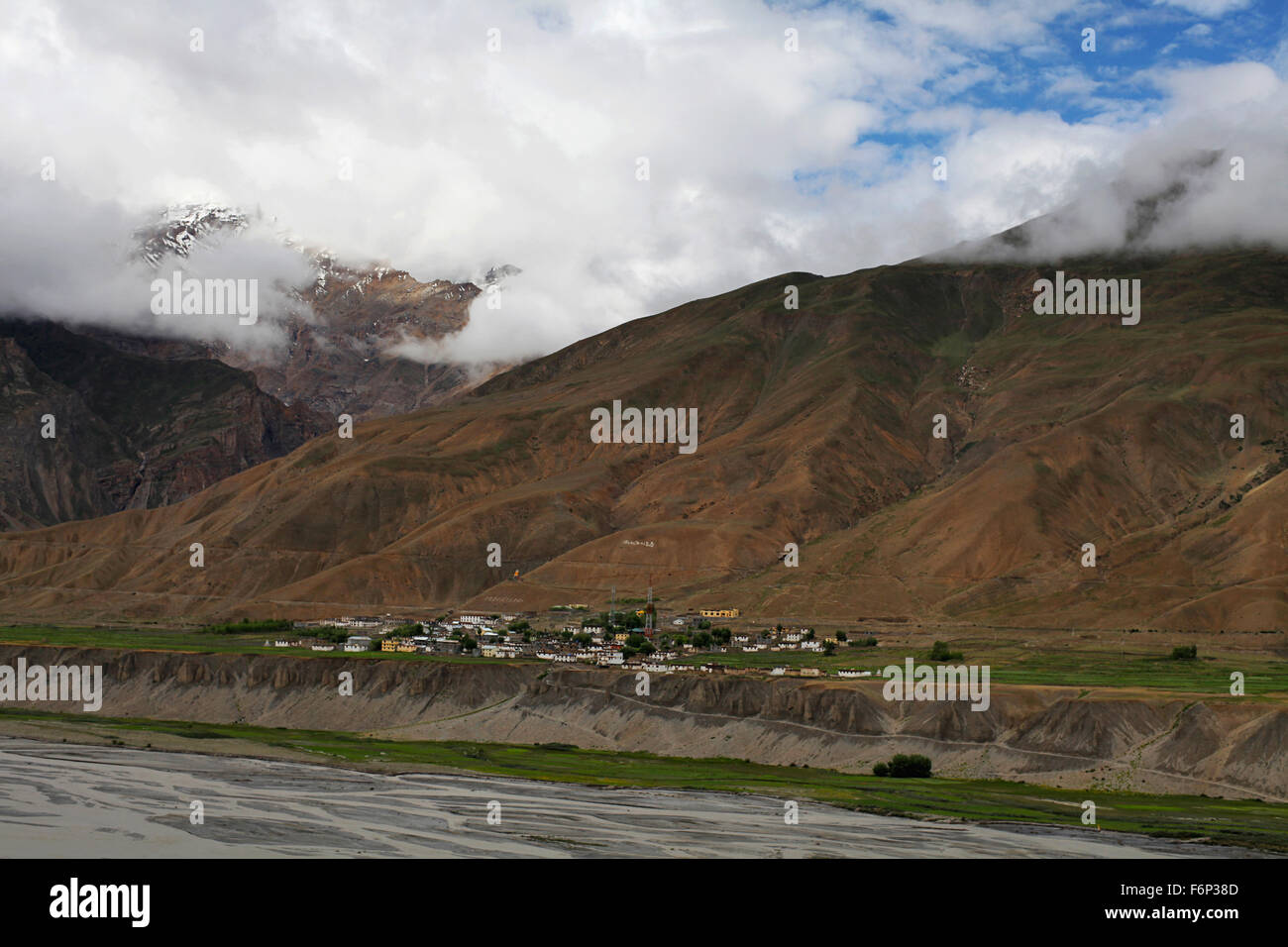 SPITI VALLEY - View of Rangarik village, Himachal Pradesh, India - Stock Image