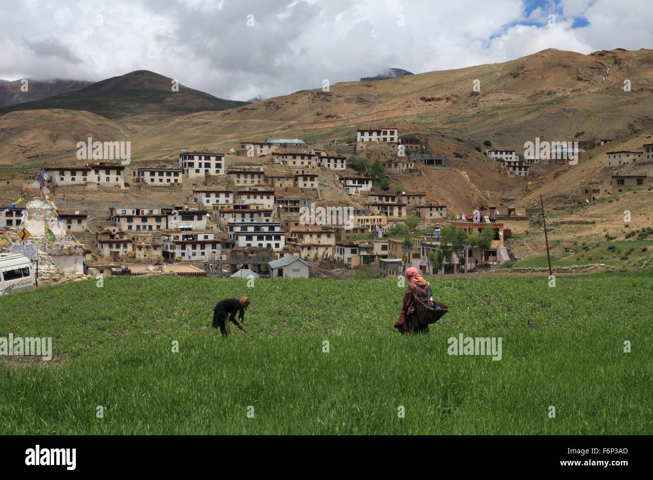 SPITI VALLEY - View of Kibber Village, the highest village of the world at a height of 4205 meters Himachal Pradesh, - Stock Image