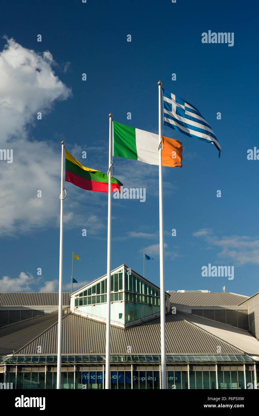 UK, England, Yorkshire, Hull, EU flags flying on Castle Street outside Princes Dock Shopping Centre, - Stock Image