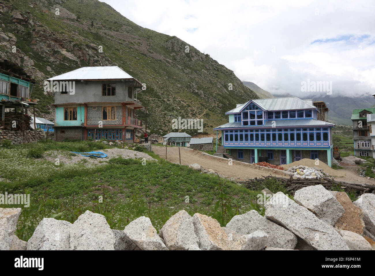 SPITI VALLEY - Chitkul Village Last inhabited village near the Indo-China border Himachal Pradesh , India Stock Photo