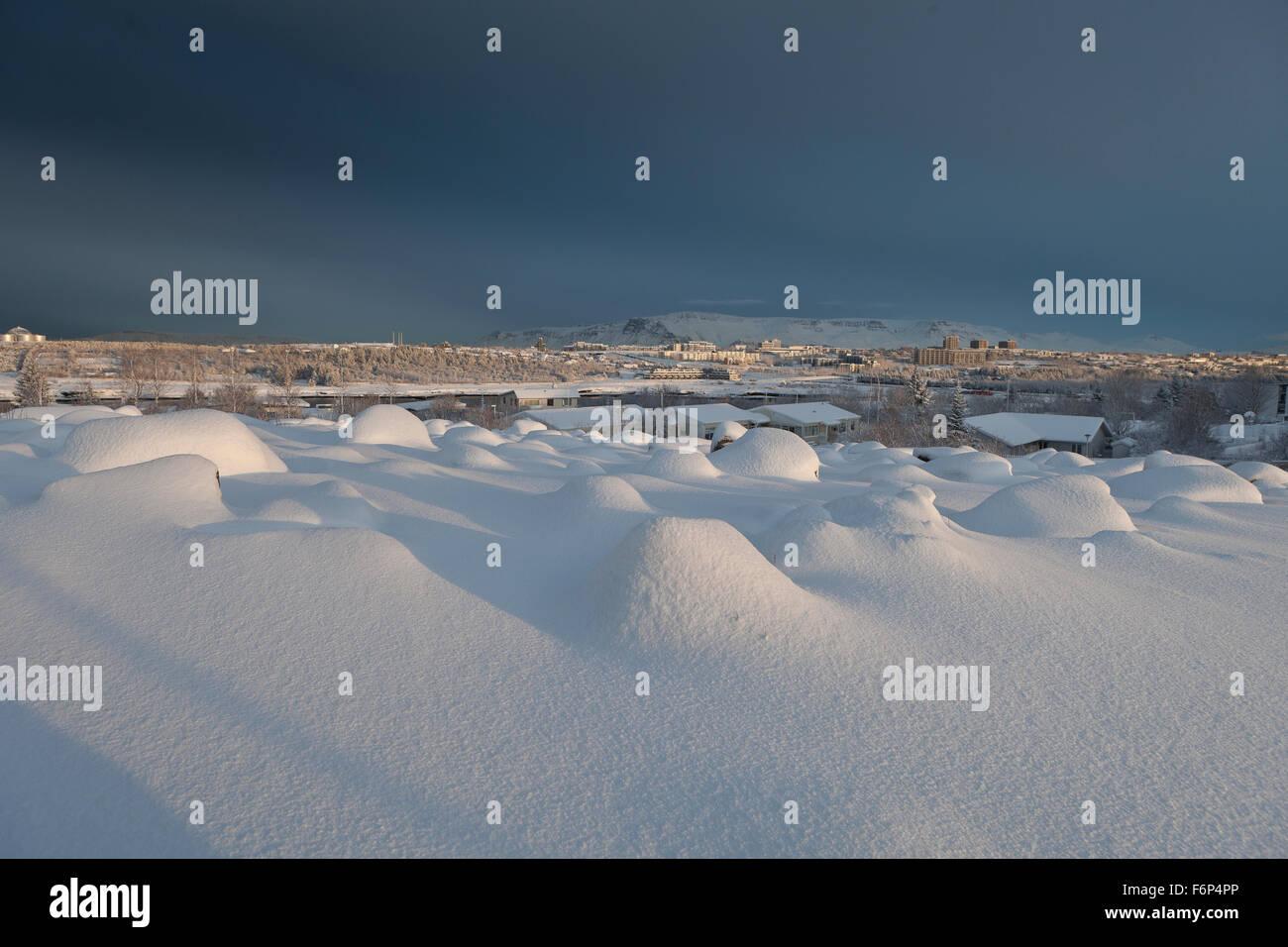 Aftermath of snowstorm, Reykjavik, Iceland - Stock Image
