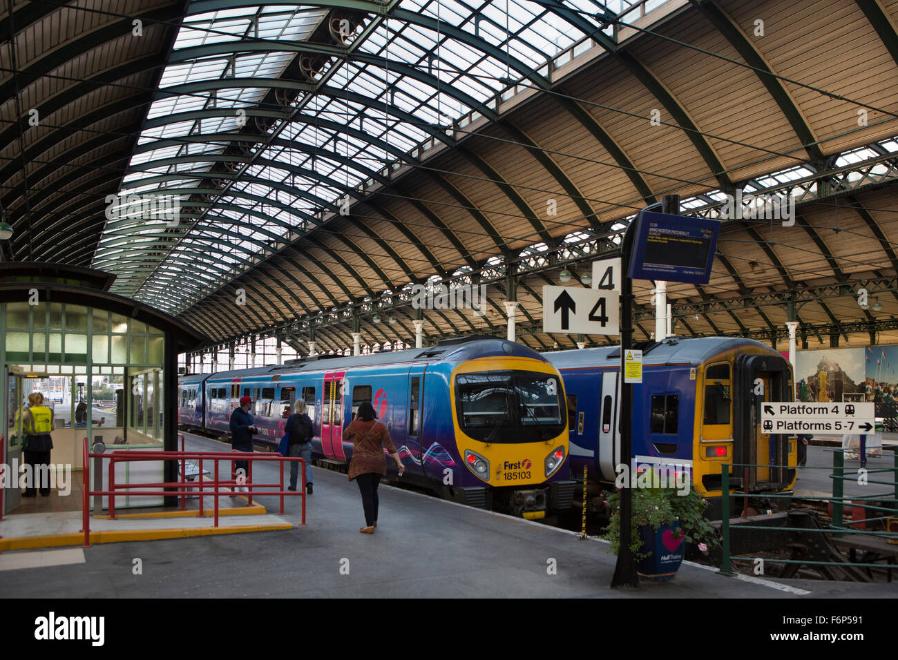 UK, England, Yorkshire, Hull, Railway Station, First Transpennine train at platform - Stock Image