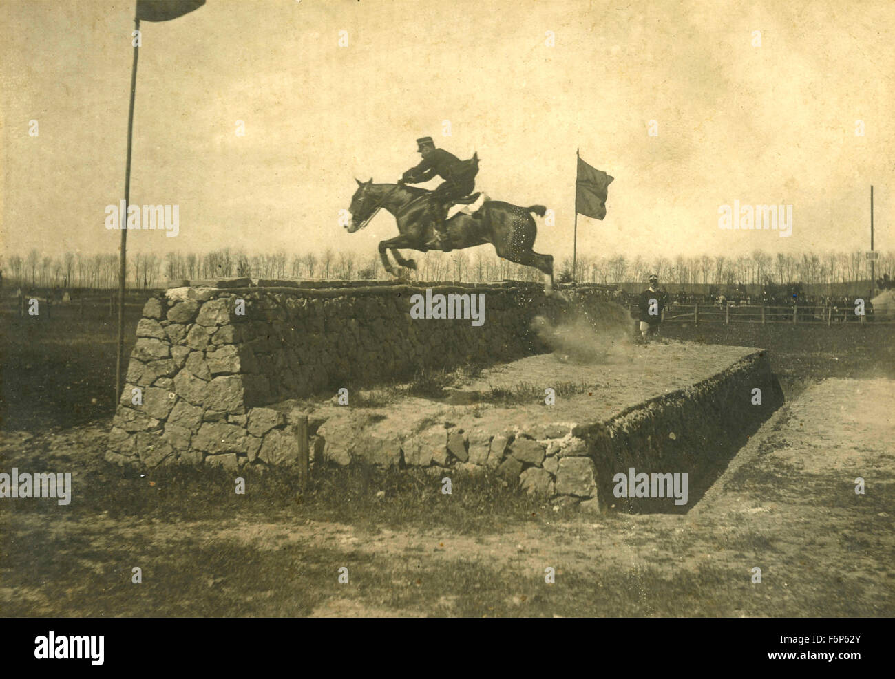 Cavalry officer to jump, Italy - Stock Image